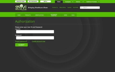 Screenshot of Login Page strivemedical.com - Authorization :: Strive Medical Wound Care & Urologicals - captured Oct. 7, 2014