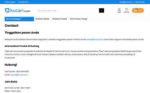 Screenshot of Contact Page kucari.com - Hubungi Kami sekarang di 0811 2244 828   Kucari.com - captured Feb. 25, 2020
