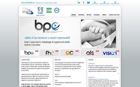 Screenshot of Home Page italyrecover.it - Italy Recover Srl - società di gestione del credito e recupero crediti - captured Oct. 6, 2014