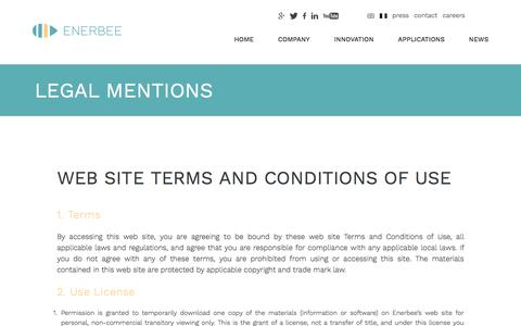 Screenshot of Terms Page enerbee.fr - Legal mentions - Enerbee - captured May 19, 2017