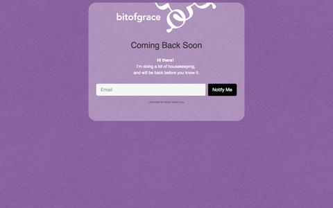 Screenshot of Home Page bitofgrace.com - bitofgrace is Coming Back Soon - captured Oct. 24, 2018