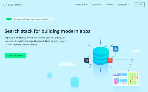 Screenshot of Home Page appbase.io - Appbase.io - Search stack for modern apps - captured Feb. 16, 2019