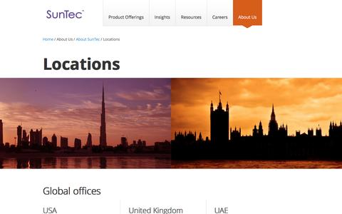 Screenshot of Locations Page suntecgroup.com - SunTec Locations | Global Offices - captured Feb. 16, 2016