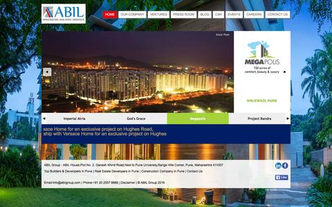 Screenshot of Home Page abilgroup.com - Top Builders & Developers in Pune | ABIL Group - captured Feb. 4, 2016