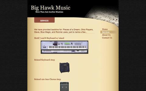 Screenshot of Services Page bighawkmusic.com - Big Hawk Music - Services - captured Sept. 30, 2014