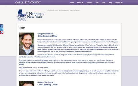 Screenshot of Team Page nanniesofnewyork.com - Team - Nannies of New York, NYC's Premier Nanny Placement Agency - captured Sept. 30, 2014