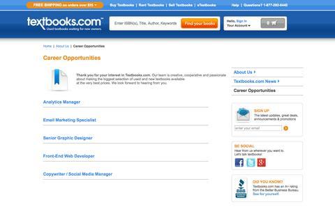 Screenshot of Jobs Page textbooks.com - Textbooks News | College Textbooks News from Textbooks.com - captured Nov. 4, 2014