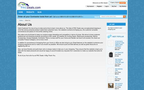 Screenshot of About Page pacdeals.com - About Us - captured Sept. 26, 2014