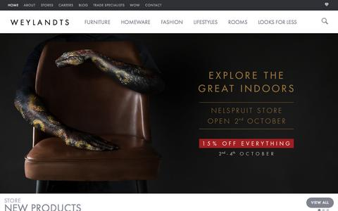 Screenshot of Home Page weylandts.co.za - Furniture and Décor Store in Southern Africa | Weylandts South Africa - captured Oct. 2, 2015