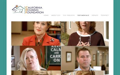 Screenshot of Testimonials Page chfcares.com - Testimonials — California Housing Foundation - captured Oct. 17, 2016