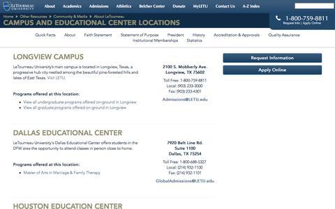Screenshot of Locations Page letu.edu - Campus and Educational Center Locations | LeTourneau University - captured Jan. 17, 2016
