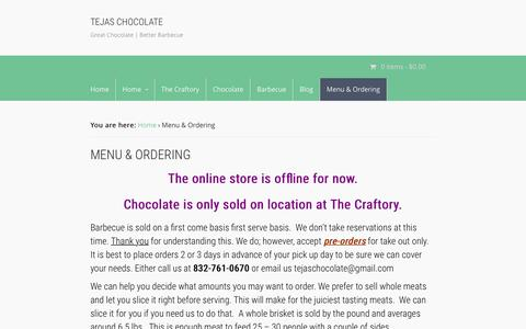 Screenshot of Menu Page tejaschocolate.com - Menu & Ordering | Tejas Chocolate - captured Feb. 24, 2016