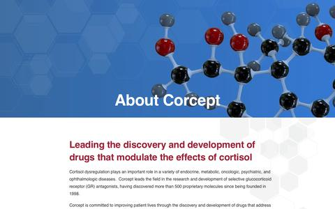 Screenshot of About Page corcept.com - Leaders in Cortisol Research & Drug Development | Corcept Therapeutics - captured Nov. 3, 2018