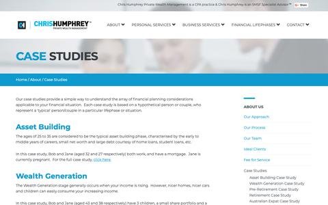 Screenshot of Case Studies Page humphreywealth.com.au - Financial Planning Brisbane | Financial Planner Brisbane | Financial Advisors - Chris Humphrey Private Wealth Management | Case Studies - captured Sept. 28, 2018