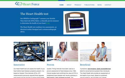 Screenshot of Home Page heartforcemedical.com - Home - Heart Force Medical Inc. - captured Jan. 27, 2016