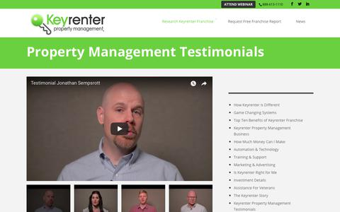 Screenshot of Testimonials Page keyrenterfranchise.com - Client Testimonials | Keyrenter Property Management Franchise - captured July 9, 2018