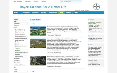Screenshot of Locations Page bayer.com - BAYNEWS: Locations - captured Oct. 28, 2014
