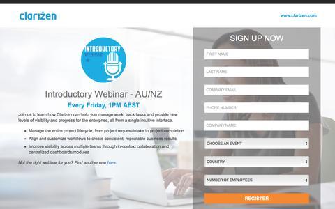 Screenshot of Landing Page clarizen.com - Introductory Webinar - AU / NZ - captured Feb. 25, 2017