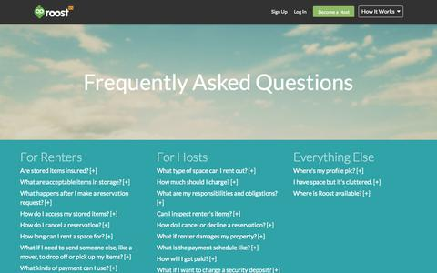 Screenshot of FAQ Page roost.com - FAQs - captured Aug. 10, 2015