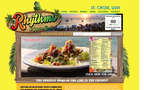 Screenshot of Menu Page rainbowbeachstx.com - Rhythms At Rainbow Beach Bar and Restaurant St. Croix - captured Dec. 6, 2016