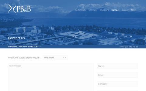 Screenshot of Contact Page pbbtech.com - Contact : PB&B | A Swiss MedTech Start-Up - captured July 6, 2018