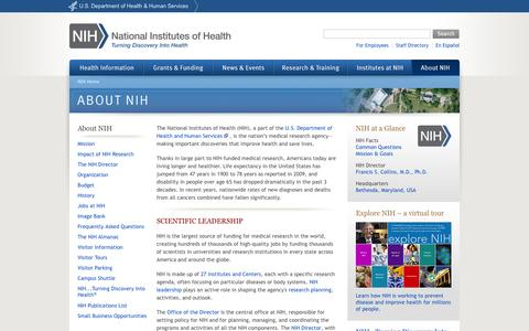 Screenshot of About Page nih.gov - NIH - About NIH - captured Sept. 16, 2014