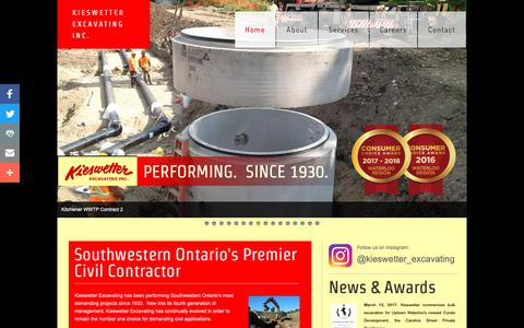 Screenshot of Home Page kieswetter.com - KIESWETTER EXCAVATING INC. - captured Oct. 15, 2018