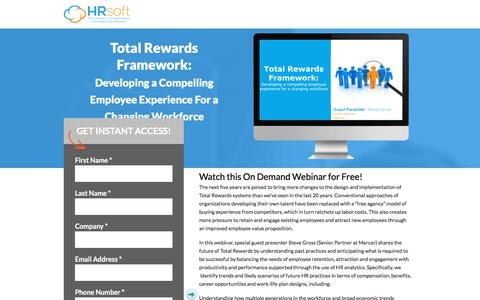 Screenshot of Landing Page hrsoft.com - Total Rewards Framework: Developing a Compelling Employee Experience For a Changing Workforce - captured Aug. 14, 2018