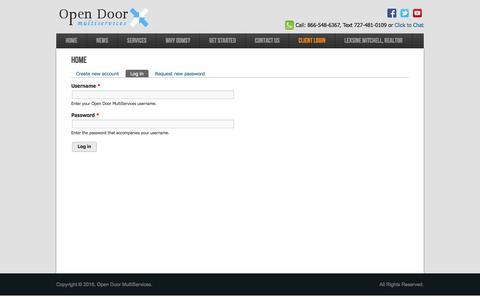 Screenshot of Login Page planitcc.com - Home | Open Door MultiServices - captured Jan. 29, 2016