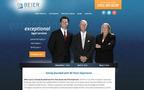 Screenshot of Home Page beierlaw.com - Pittsburgh Personal Injury, Real Estate Attorneys   Beier Law - captured July 2, 2018