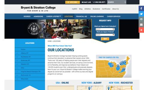 Screenshot of Locations Page bryantstratton.edu - Locations | Bryant & Stratton College - captured Sept. 10, 2016