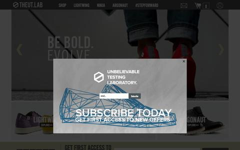 Screenshot of Home Page theutlab.com - THE UT.LAB | Unbelievable Testing Laboratory | Light Weight Shoes - captured Sept. 26, 2015