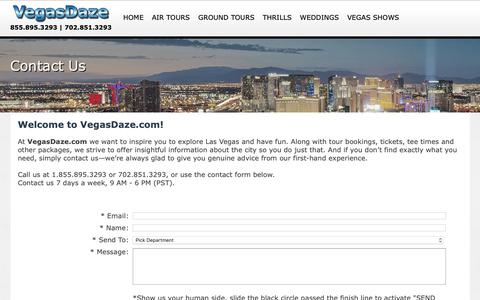 Screenshot of Contact Page vegasdaze.com - VegasDaze.com Contact Us | 702-851-3293 - captured Oct. 19, 2018