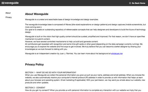 Screenshot of About Page Privacy Page waveguide.io - Waveguide | Stuff - captured July 11, 2018