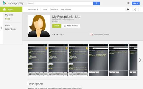 Screenshot of Android App Page google.com - My Receptionist Lite - Android Apps on Google Play - captured Nov. 2, 2014