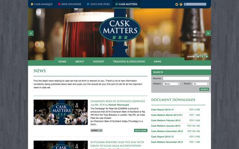 Screenshot of Press Page cask-marque.co.uk - News Archives - Cask Matters - captured July 11, 2016