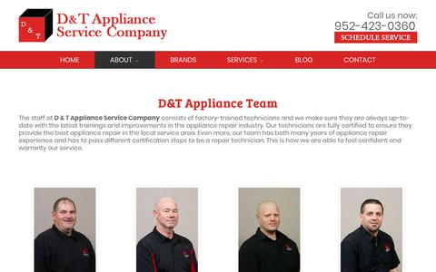 Screenshot of Team Page dtappliance.com - Our Team - D & T Appliance Service Company - Hopkins, MN - captured Oct. 7, 2018