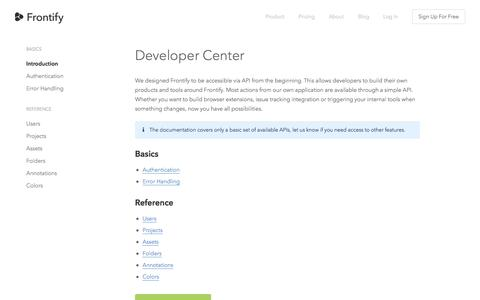 Screenshot of Developers Page frontify.com - Developers - Frontify - captured Nov. 3, 2014