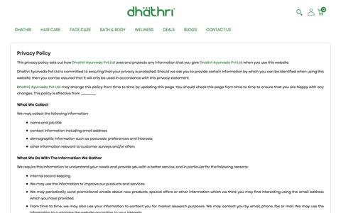 Screenshot of Privacy Page dhathri.com - Privacy-Policy - captured Jan. 6, 2020