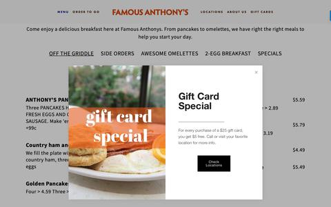 Screenshot of Menu Page famousanthonys.com - Breakfast — Famous Anthony's - captured Dec. 3, 2018