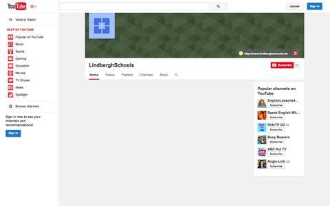 Screenshot of YouTube Page youtube.com - LindberghSchools  - YouTube - captured Oct. 22, 2014