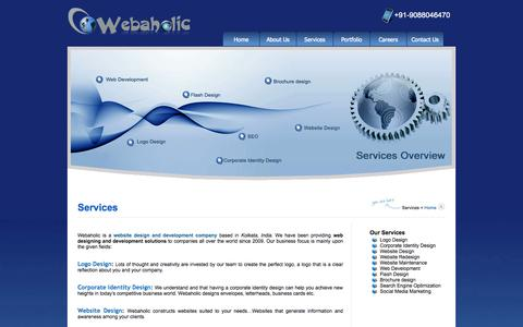 Screenshot of Services Page webaholic.co.in - SEO, Web Design & Development Services in Kolkata, India | Webaholic - captured Sept. 23, 2014