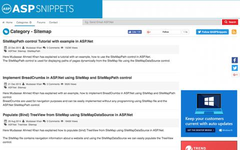 Screenshot of Site Map Page aspsnippets.com - Sitemap Articles - captured June 20, 2017
