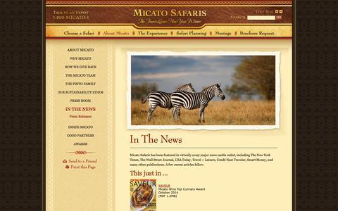 Screenshot of Press Page micato.com - Luxury Safari Articles, Micato Safaris In The News - Micato Safaris - captured Oct. 27, 2014
