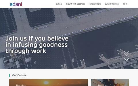 Screenshot of Jobs Page adani.com captured July 20, 2019
