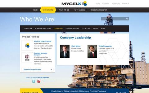 Screenshot of Team Page mycelx.com - Leadership | MyCelx Oil-Free Water Technology - captured Nov. 5, 2014