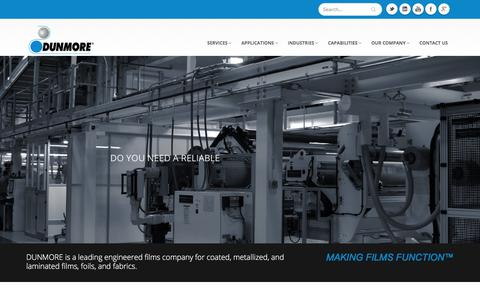 Screenshot of Home Page dunmore.com - Metalized Film, Coated Film, Metalizing Services - Dunmore - captured Jan. 8, 2018