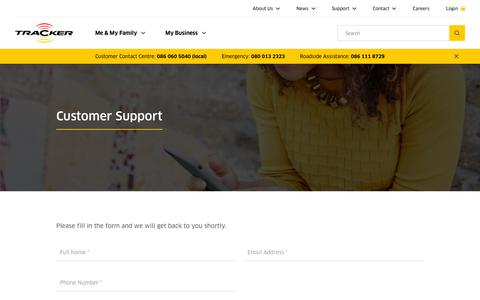 Screenshot of Support Page tracker.co.za - Customer Support | Tracker - captured May 9, 2019