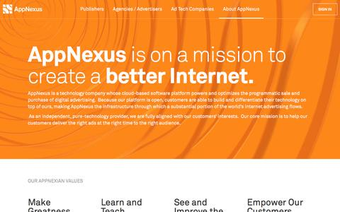 Screenshot of About Page appnexus.com - AppNexus - About Us - captured March 31, 2016