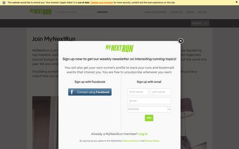 Screenshot of Jobs Page mynextrun.com - MyNextRun - captured July 4, 2016